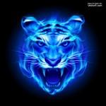 Vector đầu hổ lửa xanh