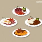 Món ăn nhà hàng Vector