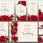 Vector thiệp cưới hoa hồng đỏ