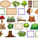 Vector cây gỗ, khung gỗ, củi gỗ
