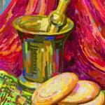 Tranh sơn dầu cái cối Vector