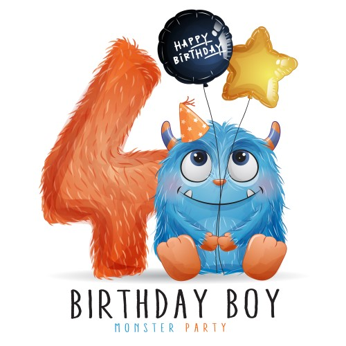 Cute little monster birthday with watercolor illustration