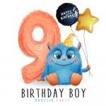 Vector quái vật dễ thương, sinh nhật 9