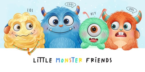 Cute little monster with watercolor illustration