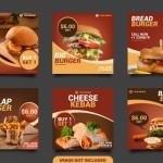 Mẫu Bài Đăng Trên Mạng Xã Hội Burger, Banner Vuông Hoặc Tờ Rơi Vector