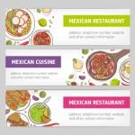 Gói Banner Web Ngang Với Các Bữa Ăn Quốc Gia Của Ẩm Thực Mexico Và Vị Trí Cho Văn Bản Vector