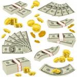Tiền Xu Và Tiền Giấy Thực Tế Được Đặt Vector