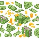 Tiền Hoạt Hình. Đô La Xếp Chồng Tiền Giấy Và Tiền Vàng Vector