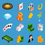 Casino Isometric Icon Set Vector
