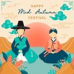 Lễ Hội Chuseok Tết Trung Thu Cặp Đôi Mặc Hanbok Hàn Quốc Vector