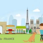Cậu Bé Với Con Chó Ở Paris Vector