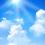 Mặt Trời Chiếu Trên Bầu Trời Xanh Mây Trắng Nền Thực Tế Vector