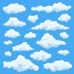 Phim Hoạt Hình Đám Mây Trắng Mịn Trong Bầu Trời Xanh Thiết Lập Các Vector Vector