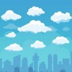 Bầu Trời Với Những Đám Mây Và Nền Thành Phố Theo Phong Cách Phẳng Vector