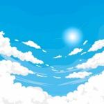 Nền Bầu Trời Có Mây Với Mặt Trời Theo Phong Cách Phẳng Vector
