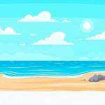 Bãi Biển Mùa Hè Hoạt Hình. Thiên Đường Nghỉ Dưỡng Thiên Nhiên, Đại Dương Hoặc Bờ Biển. Minh Họa Nền Phong Cảnh Bên Bờ Biển Vector