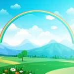 Bầu Trời Cầu Vồng Đẹp Với Màu Xanh Lá Cây Đồng Cỏ Núi Thiên Nhiên Vector