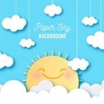 Bầu Trời Với Những Đám Mây Và Nền Mặt Trời Dễ Thương Trong Kết Cấu Giấy Vector