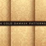 Đặt Các Mẫu Gấm Hoa Vector. Vàng Trang Trí Phong Phú, Mô Hình Phong Cách Damascus Cũ Cho Hình Nền, Tải Vector