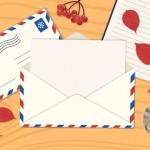 Mở Phong Bì Với Lá Thư Trên Bàn. Một Bàn Với Phong Bì Bưu Điện Với Thư, Sổ Tay, Kim Ngân Hoa, Nón Lá, Trạng Nguyên Vector