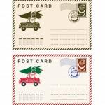 Bưu Thiếp Giáng Sinh Với Mẫu Tem Thư Kỳ Nghỉ Bị Trên Nền Trắng. Vector