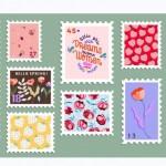 Bộ Tem Bưu Chính Vẽ Tay Đẹp. Đa Dạng Của Tem Bưu Chính Hiện Đại S. Tem Bưu Điện. Bản Vẽ Thiết Kế Thư Và Bưu Điện. Vector