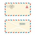 Phong Bì Bưu Chính Giấy Với Tem Minh Họa Thực Tế Trên Nền Trắng Vector