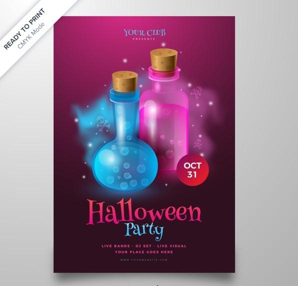 free-000820-mau-poster-halloween-doc-trong-chai-vector