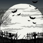 Vẽ Tay Nền Halloween Với Dơi Và Trăng Tròn Vector