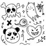 Bộ Vẽ Nguệch Ngoạc Hình Dán Đầu Lâu Halloween Ma Quái Halloween Vector