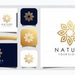 Thiết Kế Logo Hoa Hồng Lá Và Hoa Thanh Lịch Tối Giản Cho Sắc Đẹp, Mỹ Phẩm, Yoga Và Spa. Thiết Kế Logo Và Danh Thiếp Vector