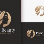Người Phụ Nữ Tiệm Làm Tóc Vàng Thiết Kế Logo Gradient Đẹp Vector