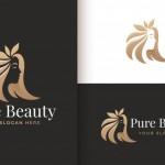 Người Phụ Nữ Tiệm Làm Tóc Vàng Thiết Kế Logo Gradient Xịn Vector