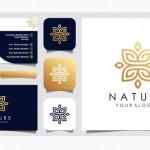 Thiết Kế Logo Lá Và Hoa Hồng Vàng Thanh Lịch Tối Giản Cho Vẻ Đẹp, Mỹ Phẩm, Yoga Và Spa. Thiết Kế Logo Và Danh Thiếp Vector
