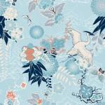 Nền Kimono Với Hạc Và Hoa Vector