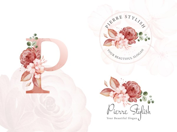Logo set of brown watercolor floral for initial P, round, and ho