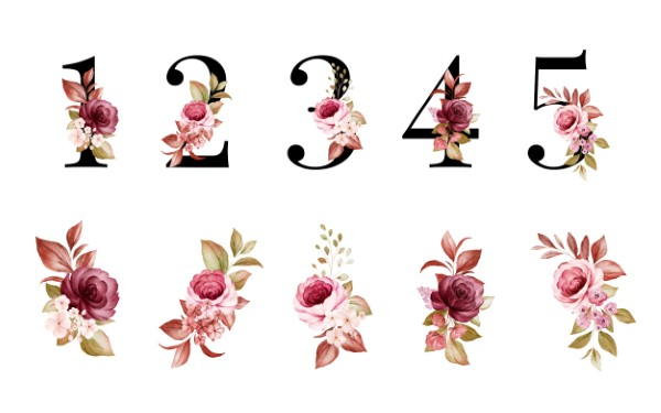 Watercolor floral number set of 1, 2, 3, 4, 5 with red and brown