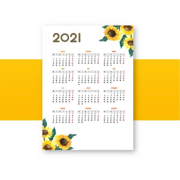 Beautiful flower 2021 calendar template background
