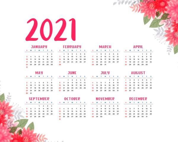 flower style 2021 beautiful calendar design template