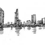 Hình Vẽ Phác Họa Thành Phố Hồ Chí Minh Vector
