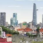 Hình Vẽ Phác Họa Đường Phố Thành Phố Hồ Chí Minh Vector 2